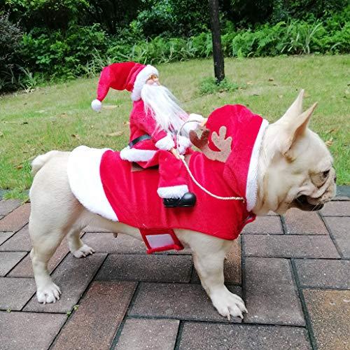 IronBuddy Santa Pet Dog Costume Christmas Dog Clothes Santa Riding a Deer Hoodie Apparel Dress Up Christmas Party…