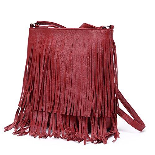 mujer bolso laterales con mujer Hozee de cruzado para Rojo bolsos Pequeñas borla cuerpo hombro Bolso cruzados de negro bolsas ZxwIvqF