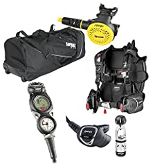 This package includes the Mares Pure SLS BCD, Instinct 12S Regulator, Mares Puck Pro 3 Gauge Console, Rover Octopus and New Travel bag. This bag will fit all of your dive gear and more! Great upright stability and durable wheels for rolling a...