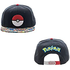Pokemon Pokeball hat with sublimated characters on brim and logo on back. Genuine Snapback cap.