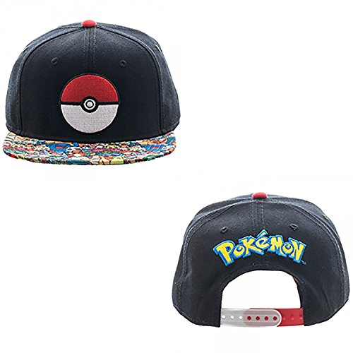 - Pokemon Pokeball Character All Over Print Sublimated Bill Snapback Hat