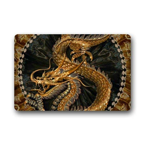 Keke's Home Golden Chinese Dragon, Polyester Front Door Mat Welcome Doormat for Home, Indoor, Entrance, Kitchen, Patio, Entry, Bathroom,18