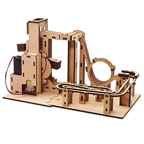 Mize Wooden 3D Puzzle Automata Mechanical Toys, Wooden Marble Run Toy Plans, Assembly Model kits (Motor Operating Rollercoaster Zigzag) Kinetic Toys for Kids & Kidults by Mize