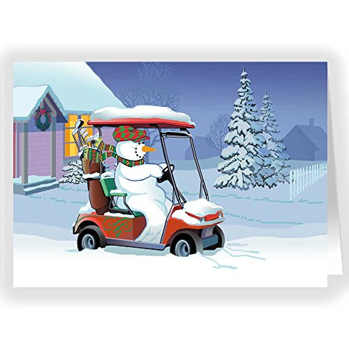 Snowman in Golf Cart Holiday Card - 18 Cards & 19 Envelopes
