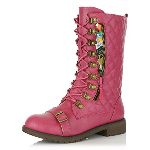 Womens Pink Boots (DailyShoes Women's Military Lace Up Buckle Combat Boots Mid Knee High Exclusive Credit Card Pocket Front Toe Buckle Strap Booties, Hot Pink PU, 9 B(M) US)