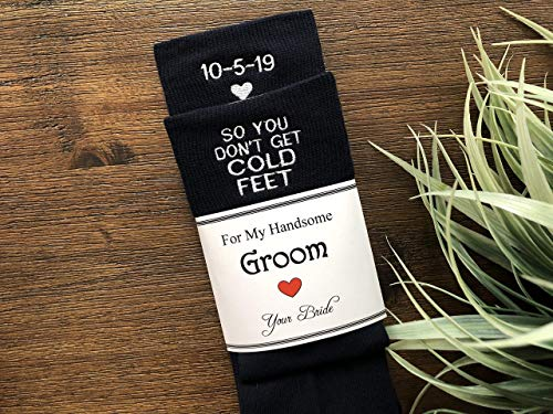(Cold Feet Wedding Day Black Dress Socks Personalized with Date for the Groom, Funny Gift)