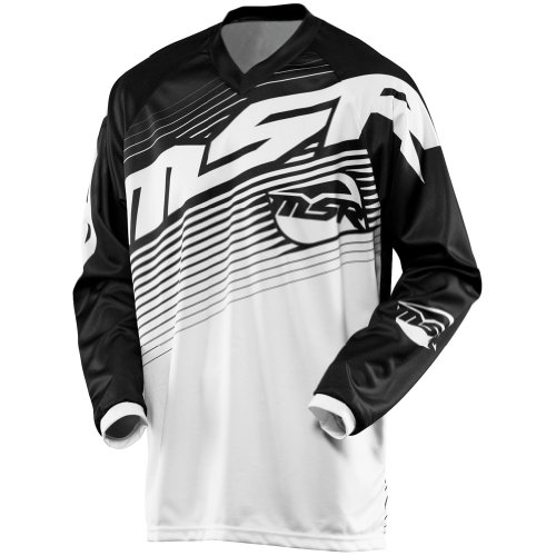 MSR Racing Axxis Youth Boys MX Motorcycle Jersey - Black/White / X-Large