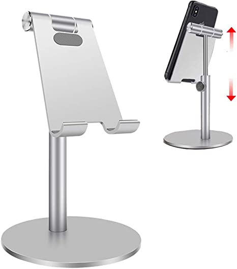 Phone Stand for Desk,Foldable iPad Holder Height Angle Adjustable Cell Phone Stand,Portable Sturdy Aluminum Metal Desktop Phone Holder Compatible with 4-13 inch Smartphone//iPhone//iPad//Kindle//Tablet