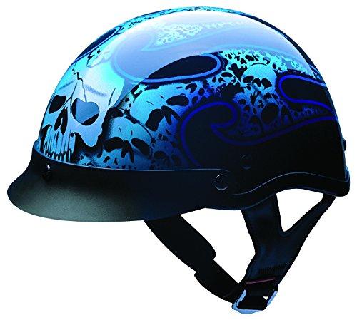 HCI HCI-100 Tribal Skull Half Helmet with Visor (Gloss Black With Blue and Silver Skull Graphic, Medium) ()