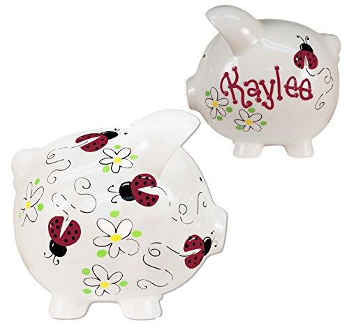 Hand Painted Personalized Ladybug Piggy Bank - Red Ladybugs