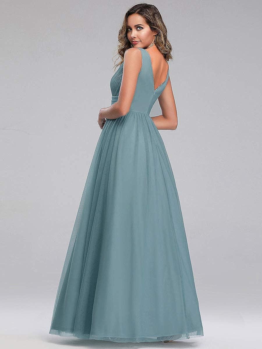 Ever-Pretty Damen Abendkleid A-Linie Tüll V Ausschnitt Brautjungfer lang  10