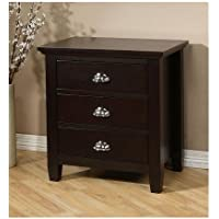 Elegant Dark Espresso Solid Wood 3-drawer Nightstand