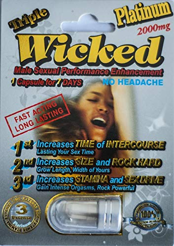 Wicked Platinum 2000 mg Triple Maximum Sexual Enhancement Pill (3) (Male Pill Performance Enhancement)