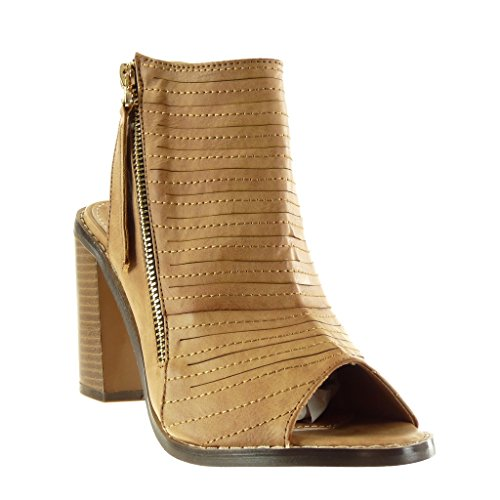 Angkorly Zapatillas Moda Sandalias Botines Peep-Toe abierto low boots mujer multi-correa acabado costura pespunte cremallera Talón Tacón ancho alto 9.5 CM Camel