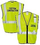 Custom Kamal Ohava Personalized Zip Up Reflective Safety Vest, Lime, L/XL