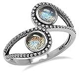 Labradorite 925 Sterling Silver Bali/Balinese Style Bypass Ring Size 8