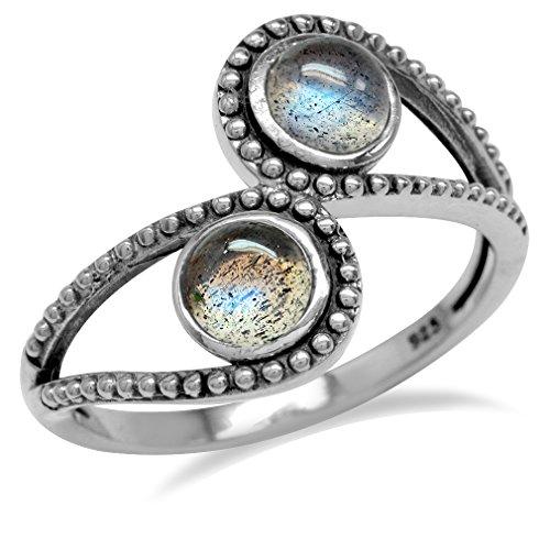 Labradorite 925 Sterling Silver Bali/Balinese Style Bypass Ring Size - Sterling Style Ring Silver Bali