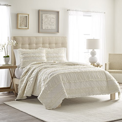 Stripes Chic Shabby - 3 Piece Full/Queen, Shabby Chic Vintage Classic Stripe Pattern Quilt Set, Traditional French Country Coastal Texture Design, Farmhouse Designer Themed, Solid Color Bedding, Adorable Off-White Color
