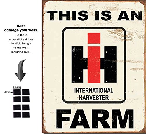 (Shop72 - International Harvester Farm Tin Sign Retro Vintage Distrssed - with Sticky Stripes No Damage to Walls)