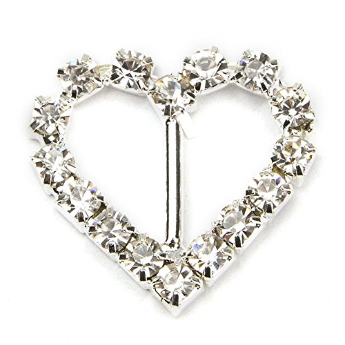 Rhinestone Heart Slide - HI-BOOM 50pcs/Pack 21mm Rhinestone Heart-Shaped Buckles Slider for DIY