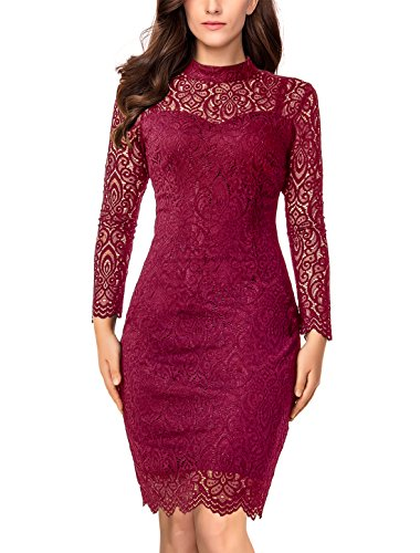 Noctflos Women's Red Lace Pencil Mock Neck Cocktail Party Dress with Sleeve
