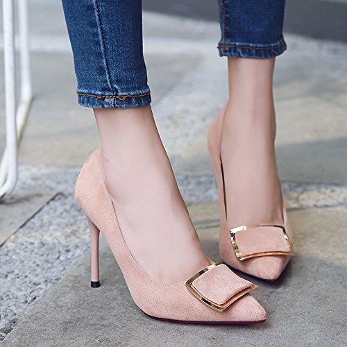 mujer zapatos negros con delgada con Xue 10 luz ultra wild Zapatos solo atrapar raso Qiqi mate Rosa para de zapatos 35 x8w8a0Tq