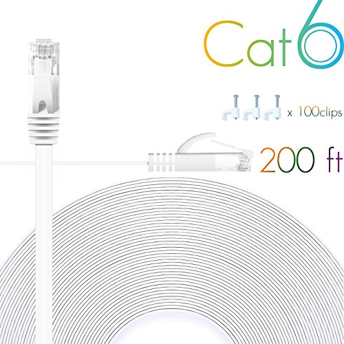 Cat 6 Ethernet Cable 200 FT Flat Internet Network Cables with Cable Clips Cat6 Ethernet Patch Cable With Snagless Rj45 Connectors White Computer Lan Cable(200FT) by Comtelek
