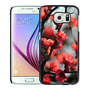 NEW Unique Custom Designed Samsung Galaxy S6 Phone Case With Red Cherry Tree Flowers_Black Phone Case