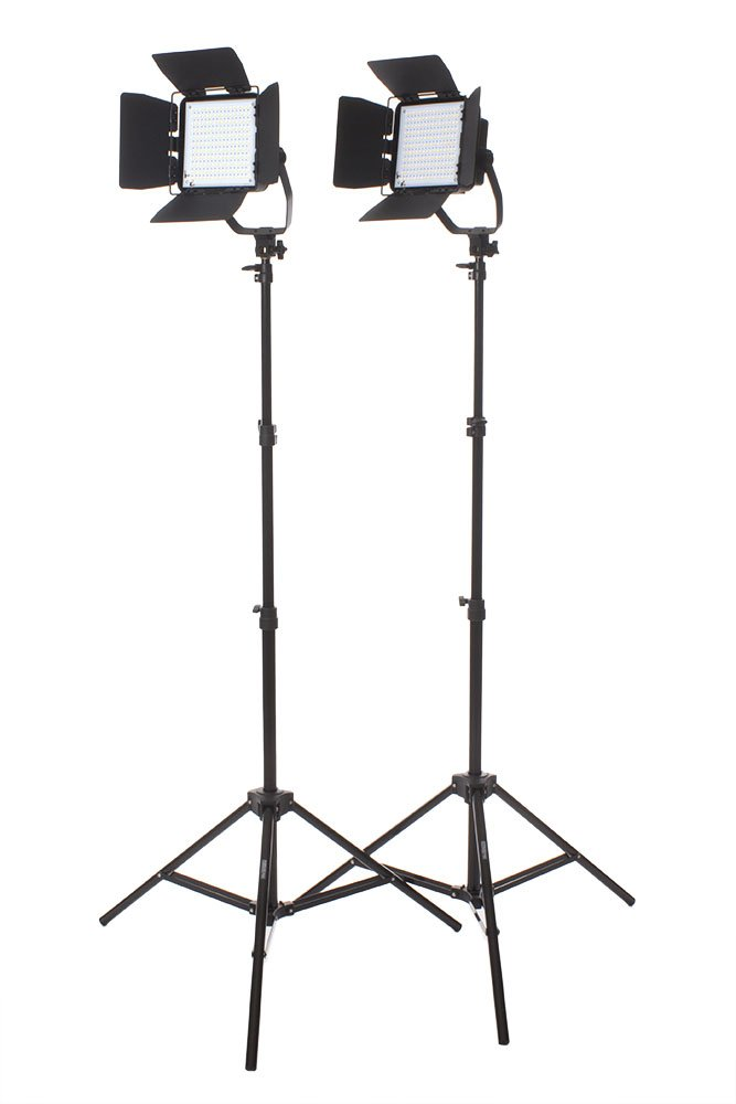 StudioPRO Premium Spot Daylight LED Rectangle with Barndoors Two Light Kit by Fovitec