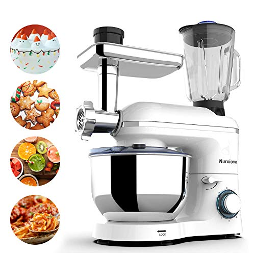 Nurxiovo 3 in 1 Stand Mixer,850W Kitchen Food Mixer with 6 Speed and Pulse, Home mixer stand up with 7QT Stainless Steel Bowl,Dough Hook,Whisk, Beater,Meat Blender and Juice Extracter White