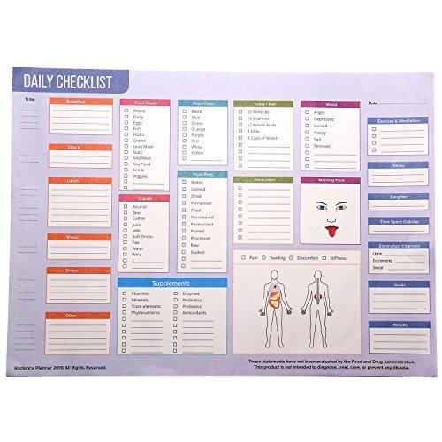 Radiance Planner Personal Diet Lifestyle and Nutrition Notepad (8 by 10 inches)