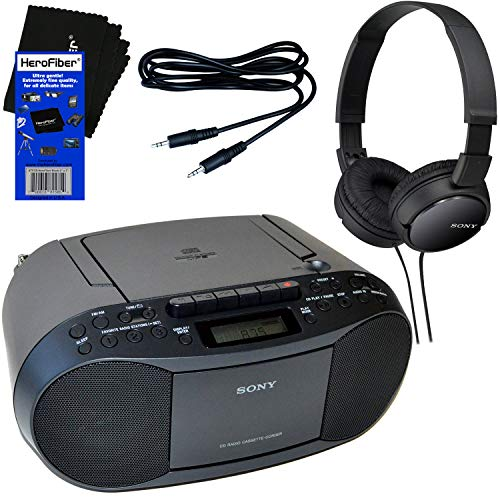 Sony Portable CD Player Boombox with AM/FM Radio & Cassette Tape Player + Sony Foldable Wired Stereo Headphones + Auxiliary Cable for Smartphones, MP3 Players & HeroFiber Ultra Gentle Cleaning Cloth (Folding Stereo)