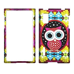 2D Colorful Owl LG Optimus Extreme L40g / L5 Net10 Case Cover Hard Case Snap-on Cases Protector Rubberized Frosted Matte Surface Hard Shells