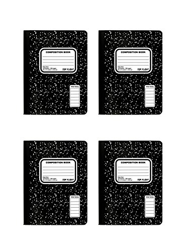 Top Flight Sewn Composition Book, Black and White Marble, Wide Rule, 100 Sheets (41353) (4 Booklets) by Top Flight