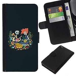 KLONGSHOP // Tirón de la caja Cartera de cuero con ranuras para tarjetas - Cráneo Redhead Chica Dibujo azul de la primavera - HTC DESIRE 816 //