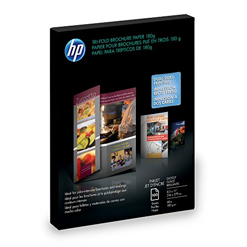 (HP C7020A Inkjet Tri-Fold Brochure Paper, 98 Brightness, 48lb, 8-1/2 x 11, White (Pack of)