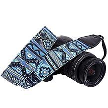 DSLR / SLR Camera Neck Shoulder Belt Strap - Wolven Cotton Canvas DSLR/SLR Camera Neck Shoulder Belt Strap for Nikon Canon Samsung Pentax Sony Olympus or Other Cameras - Blue Stripe Pattern