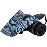 Wolven Canvas DSLR/SLR Camera Neck Shoulder Belt Strap for Nikon Canon Sony Samsung Pentax Olympus Leica Etc - Blue Stripe Pattern