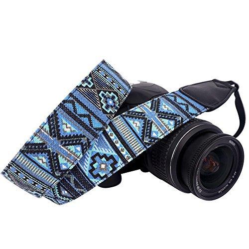 Neck Shoulder Strap - Wolven Pattern Canvas Camera Neck Shoulder Strap Belt Compatible for All DSLR/SLR/Men/Women etc, Blue Stripe Pattern