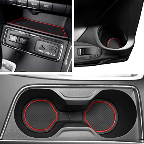 Custom Fit Cup, Door, and Console Liner Acessories for 2019 2020 Subaru Ascent 24 PC Set (Red Trim)