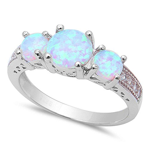 New! 3 Lab Created White Fire Opal & Cubic Zirconia .925 Sterling Silver Ring Sizes ()