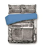 dark grey curtains asda iPrint Duvet Cover Set,Blue Back,Rustic Decor,Monochrome Old Closed Store Front with Jalousie and Classic Medieval Touch Historical Photo,Grey,Decorative 3 Pcs Bedding Set by 2 Pillow Shams,Full Size