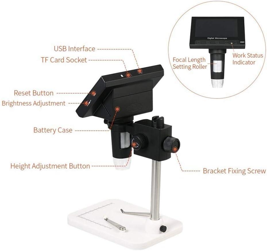 4.3 /Écran LCD Microscope Portable 720P LED Loupe avec support for carte de circuits imprim/és R/éparation dOutils de Soudure pour lecture Horloger Monnaies Bijoux