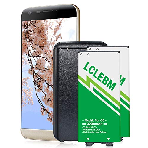 LG G5 Battery 2X3200mAh LCLEBM Battery Replacement for LG G5 with Spare Battery Charger for LG G5 BL-42D1F US992 VS987 H820 H830 LS992 [ 2 Batteries +1 Charger]
