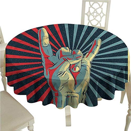 ScottDecor Dinning Tabletop Decoration Music,Rock n Roll Hand Sign Printed Tablecloth Round Tablecloth D ()