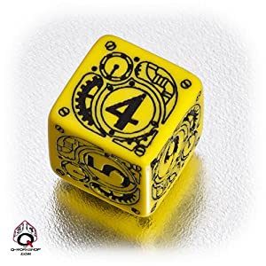 Q WORKSHOP 1 (One) Single d6 Carved Steampunk Six Sided Dice / Die (Yellow & Black)