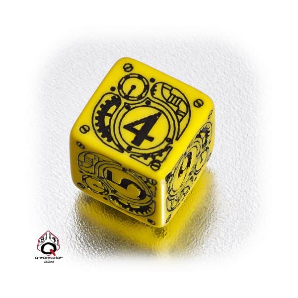 Q WORKSHOP 1 (One) Single d6 Carved Steampunk Six Sided Dice / Die (Yellow & Black) 3