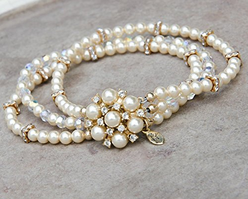 Gold Tone Three Strand Bracelet with Swarovski Simulated Pearls and Crystals