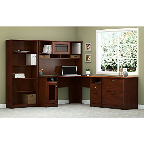 Cabot L Shaped Desk with Hutch, Lateral File Cabinet and 5 Shelf (2 Shelf Bookcase Hutch)