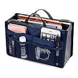 Multi-Pocket Handbag Organizer Purse Insert Liner Pouch Medium Size with Handles Visiable Net Pockets